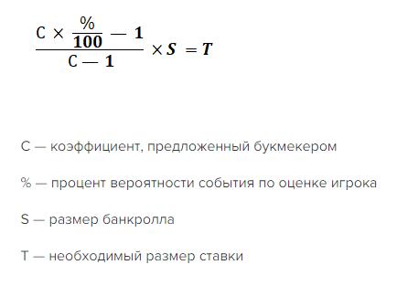 Формула критерия Келли